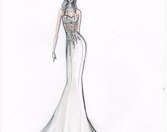 Custom Bridal Fashion Sketch in Marker
