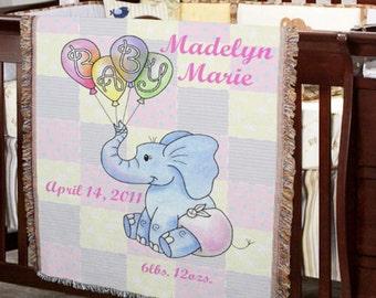 Personalized Baby Girl Elephant Blanket