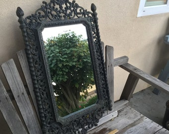 """Ornate Shabby Chic Mirror Vintage Syroco Mirror NOT from Ikea LOCAL Pick Up only with a backing and  hanger - Approx. 19"""" W x 32"""" L"""