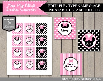 INSTANT DOWNLOAD Editable Light Pink Mouse Printable Cupcake Toppers / You Type Name & Age / Light Pink Mouse Collection / Item #1823