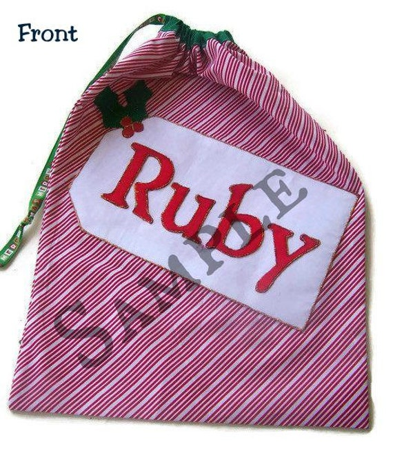 Custom Santa Sack, Glittery Personalised Santa Sacks, Santa bag, Xmas Bag