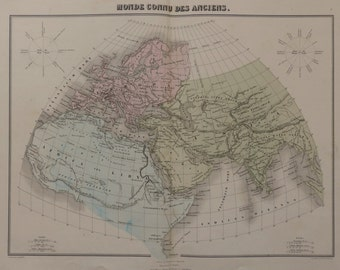 1880.Rare map.The known world in ancient times.LARGE map of the world.Old maps.Color maps.18.3x13.7 inches or 47x35 cm.