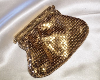 Gold Mesh Change Purse with Unique Squeeze Clasp
