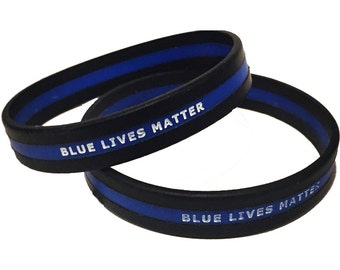 PACK OF 12 Blue Lives Matter Thin Blue Line Wristbands SKU: Wb17-0002