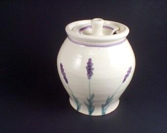 Purple Lavender Pottery honey pot, sugar bowl, ceramic honey pot, pottery sugar bowl, ceramic sugar bowl, honey pot pottery