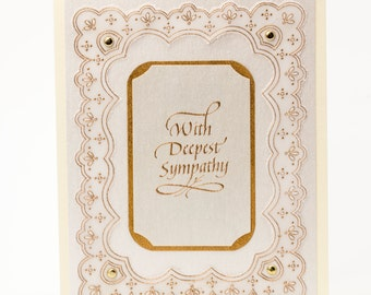 Handmade Sympathy Card, Condolence Card, Express Your Deepest Sympathy, Ivory and Metallic Gold, Handmade Paper Card