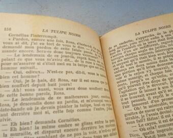 "Antique novel, French book ""La Tulipe Noire"" Alexandre Dumas, 1947 edition, French classics, literature and history."