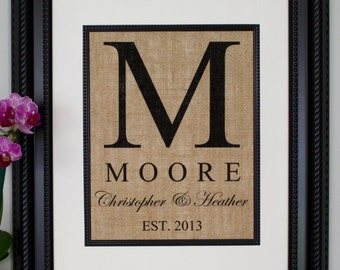 Personalized Burlap Print, Wedding Gift, Anniversary Gift, Engagement Gift, Burlap Sign with Family Name and Date Established