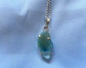 Blue & Green Solar Agate Geode Silver Necklace