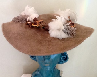 Vintage Pancake Hat / Picture Hat / Platter Hat / Henry Margu / High Fashion / Taupe Beaver Fur & Feathers / Mid Century / Retro