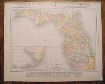 Authentic Antique Vintage 1913 Map of Florida Rand McNally Unrivaled Atlas of the world page 103 year old map