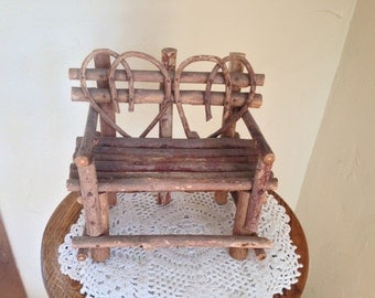 """Vintage  Doll Furniture Rustic Branch Chair or Couch for Two- 7 3/4"""" tall"""