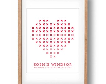 Cross Stitch Heart Print, Personalised Name Print, Birth Statistics Print, Birth Detail Print, Baby Birth Details, Nursery Name Print