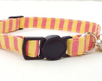 Pink and yellow candy stripe collar with breakaway clasp