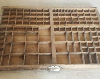 Wooden Printers Tray / Wood Printers Drawer / Industrial Tray / Wood Desk Organizer / Rustic Wood Shelf / Miniatures Display / Divided Box