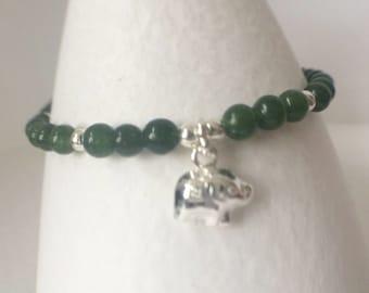 Green Jade Sterling Silver Elephant Charm Bracelet, Dark Green Bracelet, Jade Bracelet, Silver Elephant Charm Bracelet, Bead Charm Bracelet