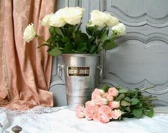 Vintage French wine bucket. Gustave Lorentz tall gewurztraminer bucket. Stamped SIMA Hagenthal. Dessert wine.  Holiday serving. ice bucket