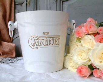 Vintage French champagne bucket. White enamel over aluminum. Stamped Volgalu Made in France. wine bucket.  Holiday serving. Celebration