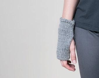 Knitted fingerless gloves, wool mittens