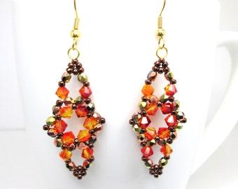 Fire opal copper swarovski elements autumn beaded earrings, fall jewelry, ER037