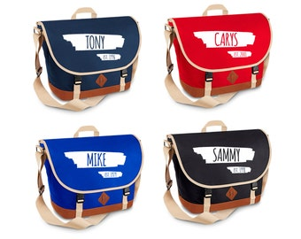 Personalised School Work Uni Messenger Bag with ANY NAME & YEAR