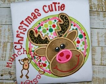 Christmas Cutie Reindeer Applique