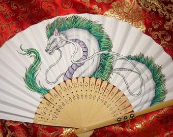 "Haku the Dragon - handpainted Paperfan - ""Made to Order"""