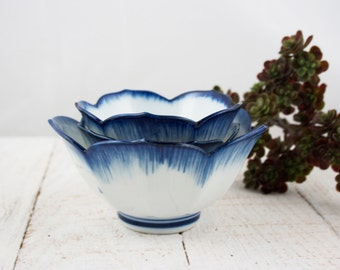 Vintage White with Cobalt Blue Lotus Bowls
