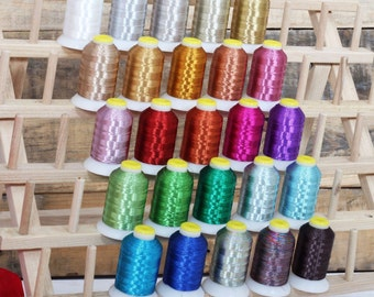 Metallic Thread For Machine Embroidery, Decorative Stitching, Quilting - 25 different colors - 500M per spool