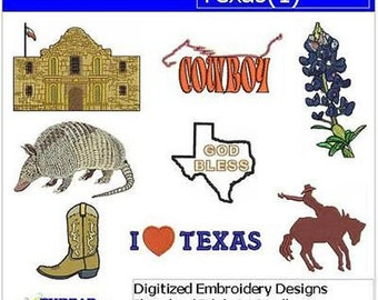 Embroidery Design CD - Texas(1) - 8 Designs - 9 Formats - Threadart
