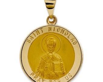 Polished And Satin St. Nicholas Medal Pendant (JC-1075)