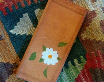 1970s Hand painted Leather chequebook, Made in Canada