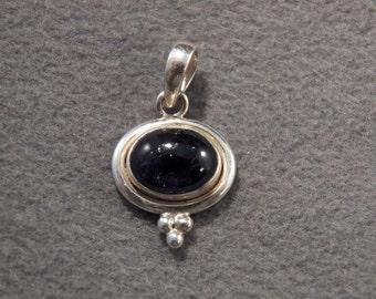 Vintage Sterling Silver Very Regal Genuine London Blue Topaz Pendant~~ **RL