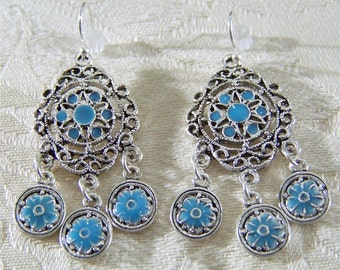 Vintage Enamel Filigree Dangle Chandelier Earrings    **RL