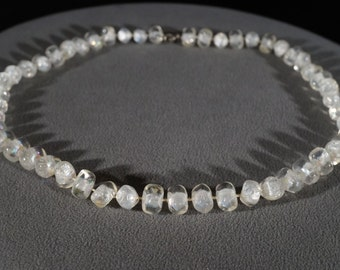 Vintage Art Deco Style Lucite Beads Oblong Design Clear Knotted Necklace Silver Tone Jewelry     K#53