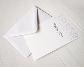 SALE Small note cards thank you cards set of 8 confetti notecards
