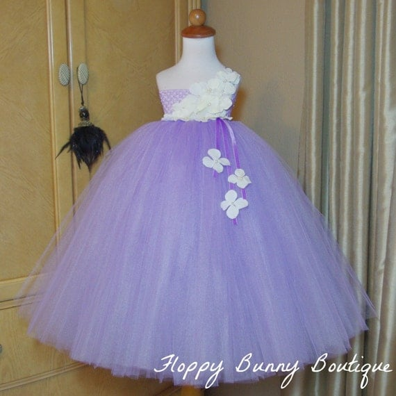 Lavender and ivory tutu dress flower girl birthday for Purple and ivory wedding dress