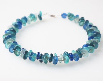 blue turquoise necklace glass pearls african glass statement