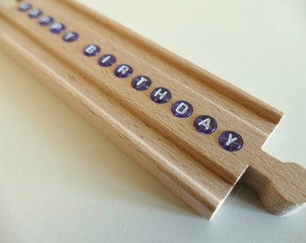 Personalized BRIO Wooden Train Track (with PURPLE letter beads)