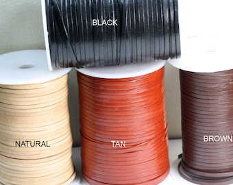 Genuine FLAT Leather cord.  Soft ,smooth and Flexible 5MM  width 1.2mm Thickness    Choose length