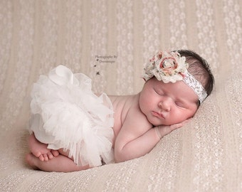 Double Rose Shabby Flowers on White Lace Headband with Pearl Rhinestone Accent.. Newborn, Baby, Girls Photo Prop Bow, Baby Shower