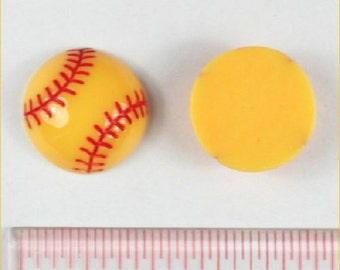 3/5/10 pc Sport Softball Ball Resin Flat back Cabochon Hair Bow Center