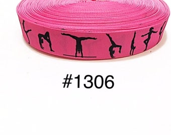 "3 or 5 yard - 7/8"" Sport Gymnastic Hot Pink Grosgrain Ribbon Hair bow"