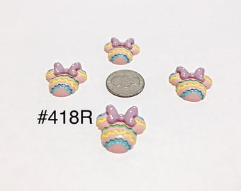 2/3/5 pc Pastel Minnie Mouse Head with Purple Polka Dot  Bow Resin Flat back Cabochon Hair Bow Center