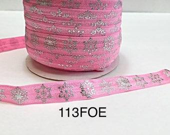 "2/3/5 yard - 5/8"" Silver Snowflake on Pink Fold Over Elastic Headband Hair Accessories"
