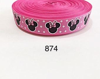 "3 or 5 yard - 7/8"" Pink Polka Dot Minnie Mouse inspired Grosgrain Ribbon Hair bow"