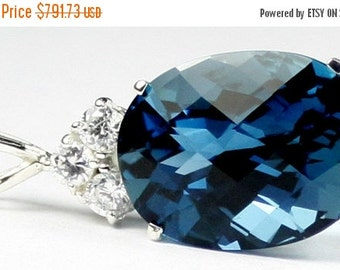 Valentines Sale 30% Off, SP016, 20x15mm, 22ct London Blue Topaz, 925 Sterling Silver Pendant