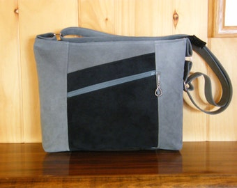 Ultrasuede Cross-body Purse / Ambiance Ultrasuede / Gray and Black Ultrasuede Purse / Zip Top / Exterior Pockets / Eco friendly