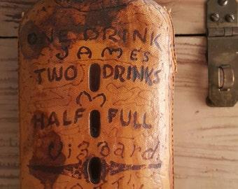 Old Weathered Leather Encased  Wiskey Souvenir Flask Bottle