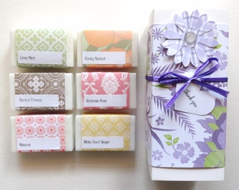 Mothers Day Gift, Gift for Her, Lovely Gift Set, Handcrafted Soap, Sample Soap Gift Box, You choose the soap you want.